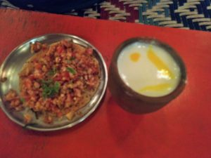 Masala Pappad and Lassi in Maharaja Thali